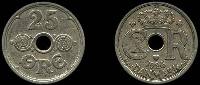 Denmark 1967-25 Ore Copper-Nickel Coin Center Hole King Frederik IX